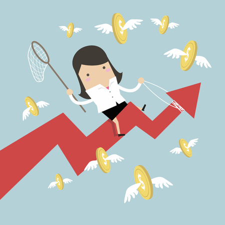 Businesswoman riding success arrow graph catch flying coins. Illustration
