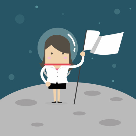 Businesswoman planting white flag on moon.