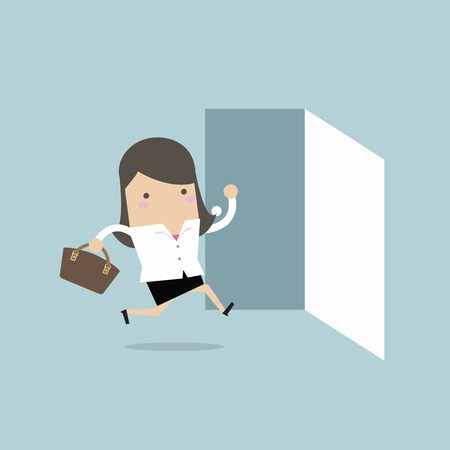 Businesswoman running to opened door.