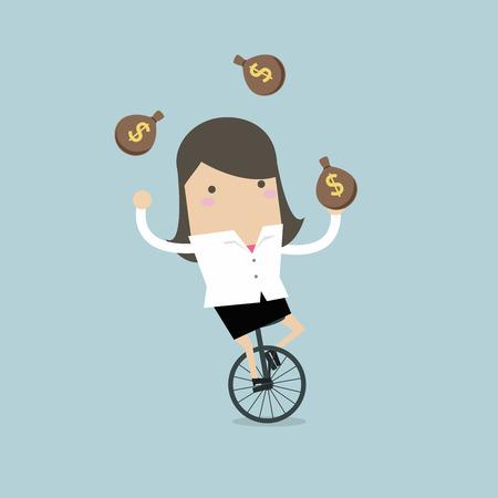 Empresaria haciendo malabares con la bolsa de dinero en bicicleta. Ilustración de vector