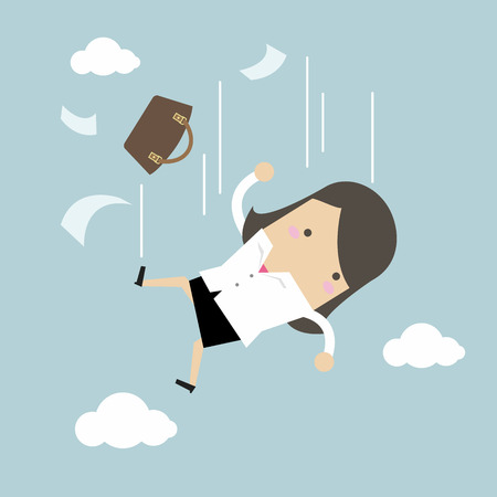 Businesswoman is falling from sky. Illustration