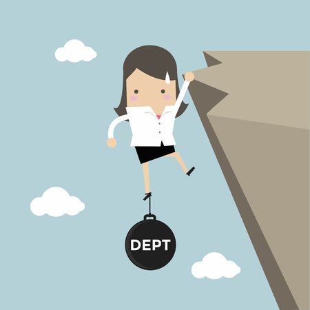 Businesswoman try hard to hold on the cliff with debt burden. vector
