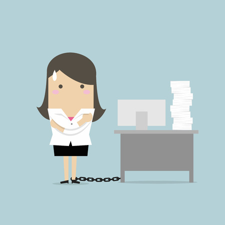 Businesswoman chained to the desk. vector Illustration