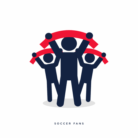 Soccer fans with scarves. vector