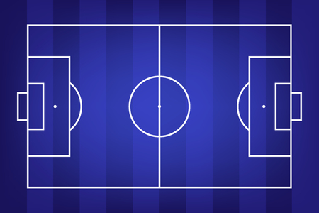 Football field or soccer field background. Vector blue court for create game. Illustration