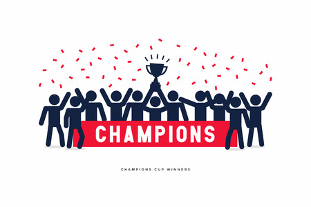 Stick Figures of The Winner Cup Soccer or Football Champions. Vector Illustration