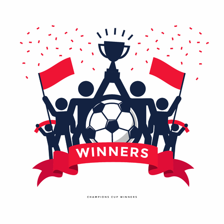 Stick Figures of The Winner Cup Soccer or Football Champions. Vector 向量圖像