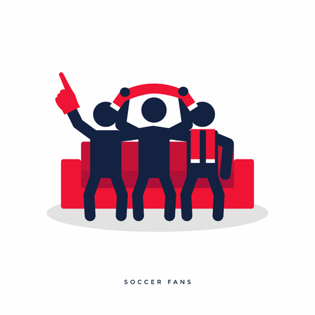 Soccer or football fans with scarves cheer for their team on sofa. vector