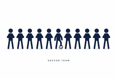 Stick Figures of Soccer or Football Team. vector
