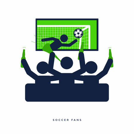 Soccer or football fans with beer bottle watching live football on TV and cheer for their team on sofa. vector