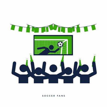 Fußball- oder Fußballfans mit Bierflasche schauen sich Live-Fußball im Fernsehen an und jubeln ihrer Mannschaft in der Bar zu.