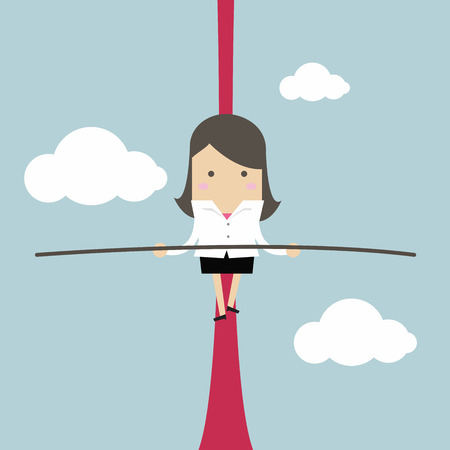 Businesswoman balancing on rope in the air.