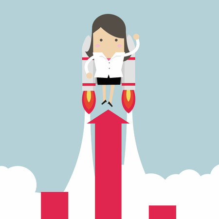 Businesswoman with jetpack and graph fling up.