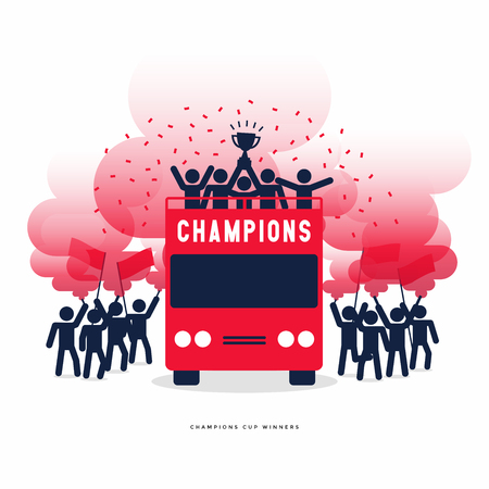 Stick Figures of The Winner Cup Soccer or Football Champions Celebration on the Open Top Buses with Red Smoke Flare.