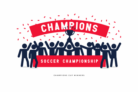 Stick Figures of The Winner Cup Soccer or Football Champions.
