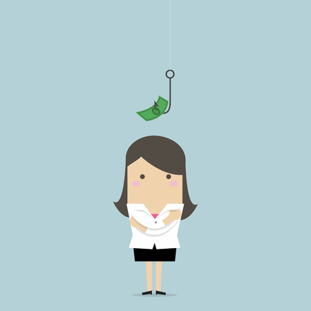 Businesswoman standing in front of a hook with a dollar sign as bait. Illustration