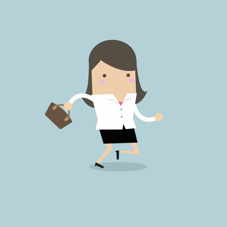 Businesswoman running with her handbag. 向量圖像
