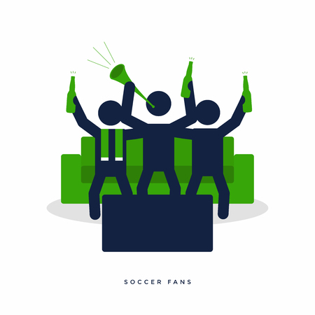 Soccer or football fans with beer bottle cheer for their team on sofa. vector
