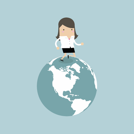 Businesswoman running on the globe. business innovation and Development concept. Illustration