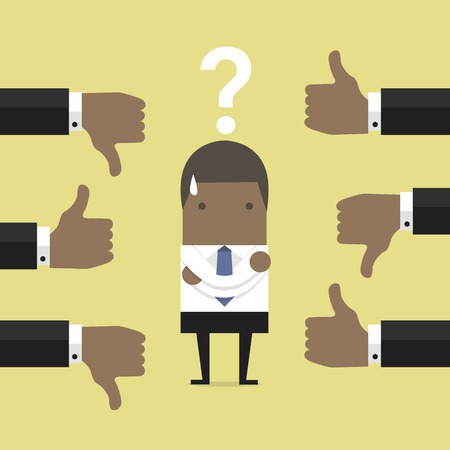 African businessman get feedback from other people. Illustration