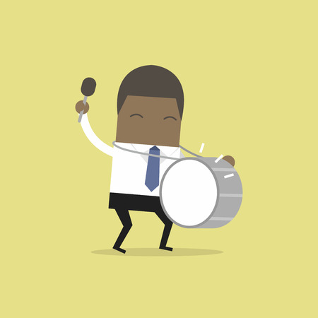 African businessman with big drum.