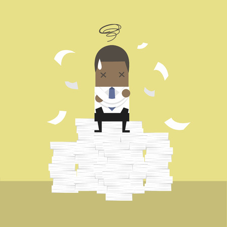 African businessman tried and stressed on paperwork.