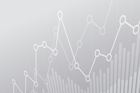 Abstract financial chart with uptrend line graph on gray background.