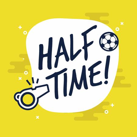 Signo de medio tiempo para fútbol o juego de fútbol. Vector plano sobre fondo amarillo.