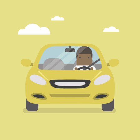 African businessman driving yellow car on the road. Vettoriali