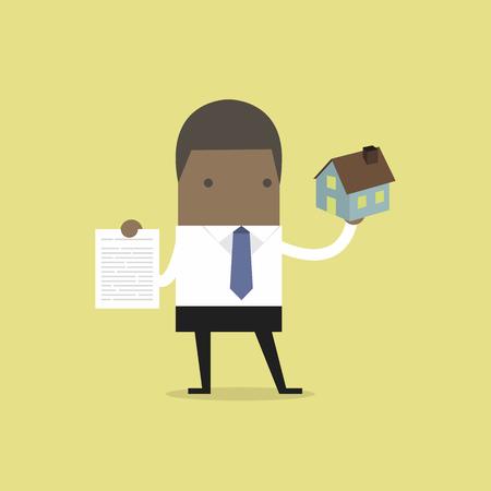 Afrikaanse zakenman onroerende goederenagent huis en contract te houden.