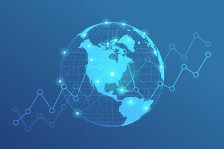 Wereldwijde netwerklijnen verbinding. Wereldkaartpunt met puntenverbindingsconcept globale bedrijfsachtergrond.