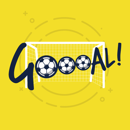 Goal sign for football or soccer game. Flat vector on yellow background.