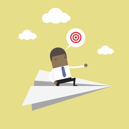 African businessman flying on paper plane and pointing to success.