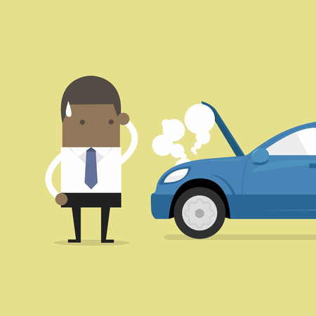 African businessman have a force majeure, a car broke down. Illustration