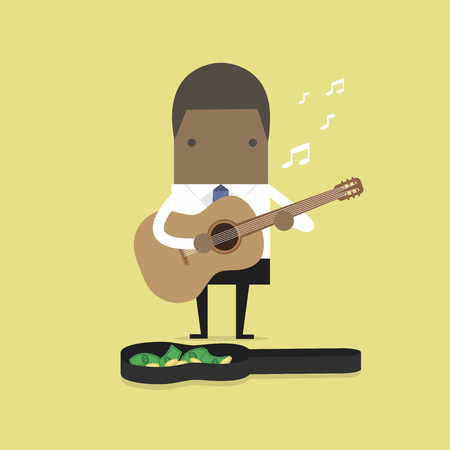 African businessman playing guitar for money.