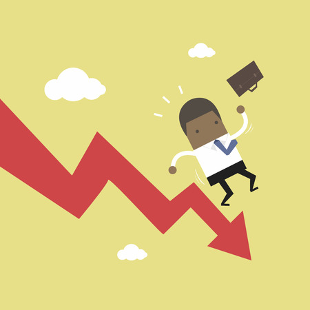 African businessman on falling down graph. Stock Illustratie