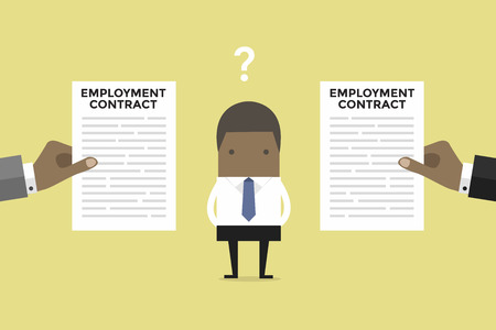 African businessman with two employment contract offer from two companies.