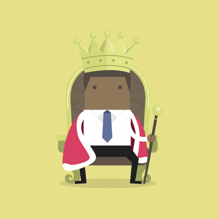 African businessman sitting on the throne with the crown like a king.