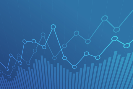 Abstract financial chart with uptrend line graph on blue background.