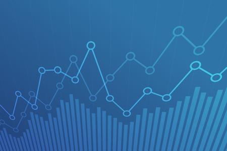 Grafico finanziario astratto con grafico a linee di tendenza rialzista su sfondo blu. Vettoriali