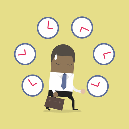 African businessman with many clocks.