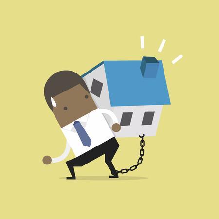 Homme d'affaires africain porte sa dette avec enchaîné sur la cheville. Concept financier.