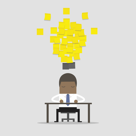 African businessman working with yellow stick note light bulb idea. Ilustração