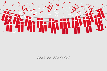 Denmark garland flag with confetti on gray background, Hang bunting for Denmark celebration template banner.