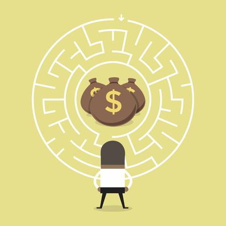 African businessman wanting to enter a money maze.