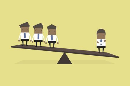 Un homme d'affaires africain d'un côté de la balance est plus lourd que de nombreux cadres de l'autre côté. Vecteurs