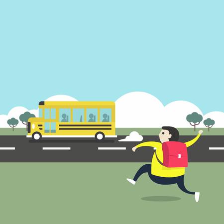 Un niño corriendo detrás de un autobús escolar.