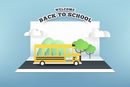 Paper card of school bus running on the road, back to school concept. Illustration