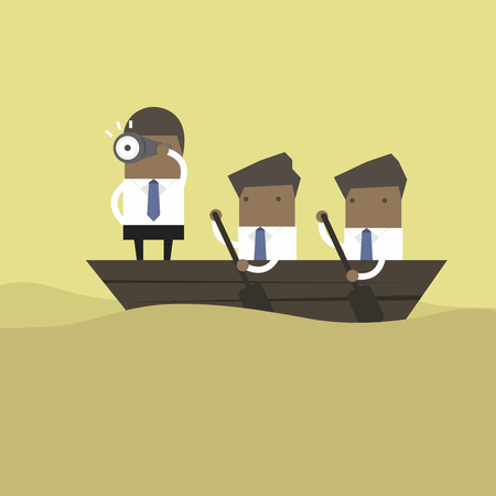 African businessman in rowing boat two rowers one captain manager boss leader. Ilustracja