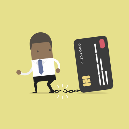 African businessman breaks free from the chain to bank credit card.